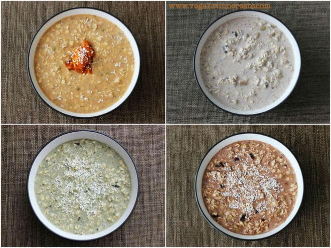 Easy Breakfast: Overnight Oats, Served 4 Ways (Chocolate, Pumpkin, Swamp Monster-Style, and Plain).