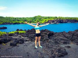 Black sand in Waianapanapa State Park, Maui, Hawaii