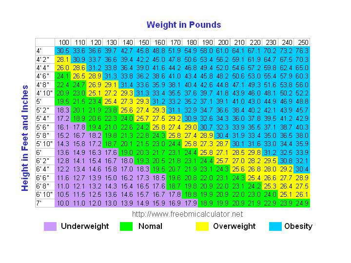 bmi chart - know your body mass index - ideal weight chart females