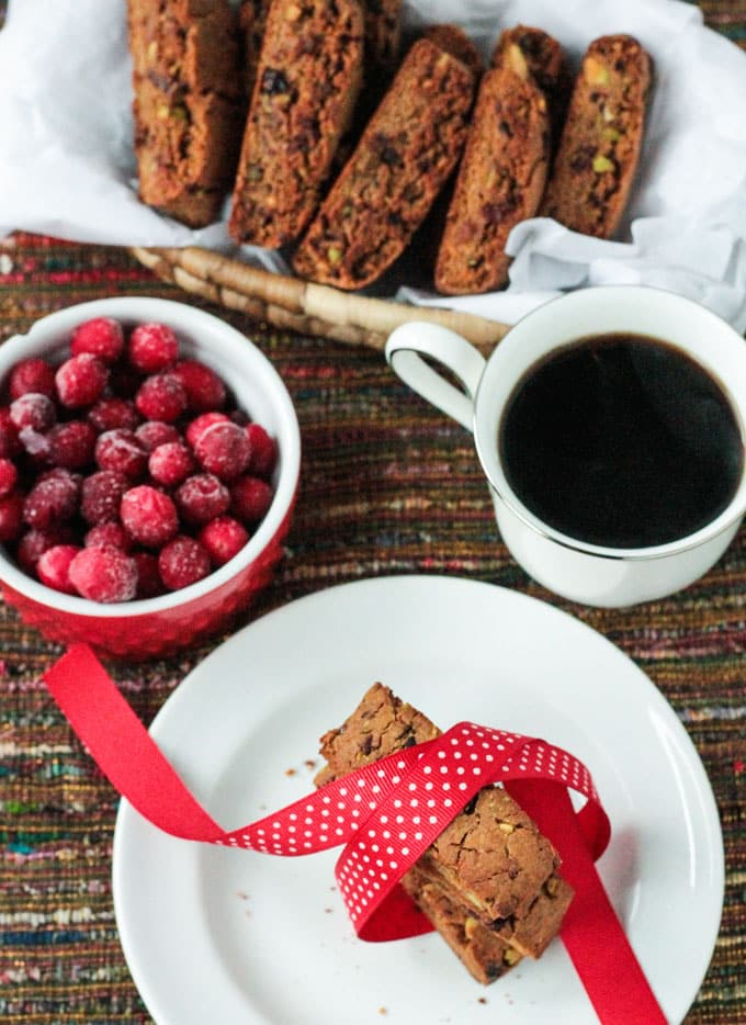 Whole Wheat Cranberry Pistachio Vegan Biscotti