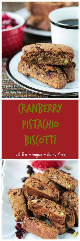 Whole Wheat Cranberry Pistachio Vegan Biscotti - This recipe is so easy! A festive vegan biscotti with NO oil, NO butter, NO dairy, NO refined sugar...only good for you ingredients so you won't feel guilty reaching for more than one!