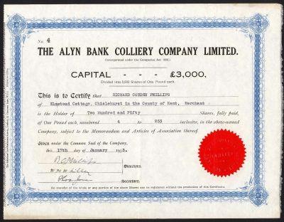 Alyn Bank Colliery Co. Ltd., £1 Shares, 1933 - M Veissid & Co.