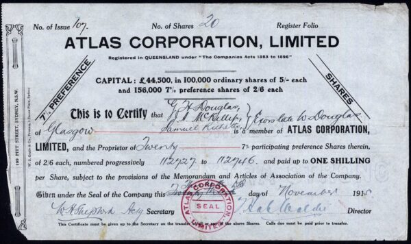 Atlas Corporation Ltd, 2/6d preference shares, 1915, damaged left - Company Share Certificates