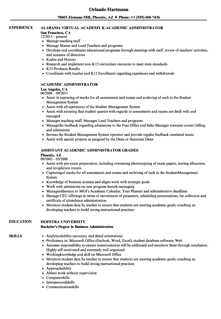 business administrator resume examples