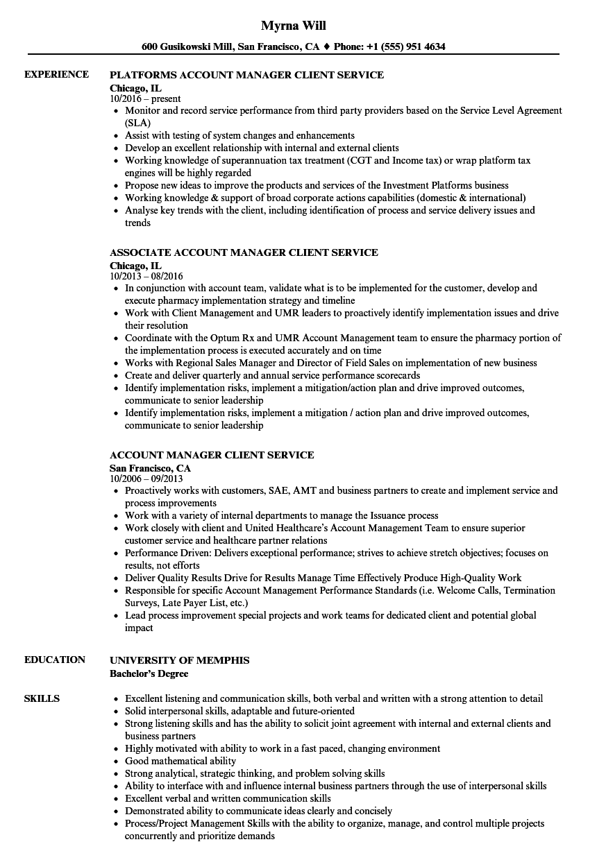 sample resume for employee benefits account manager