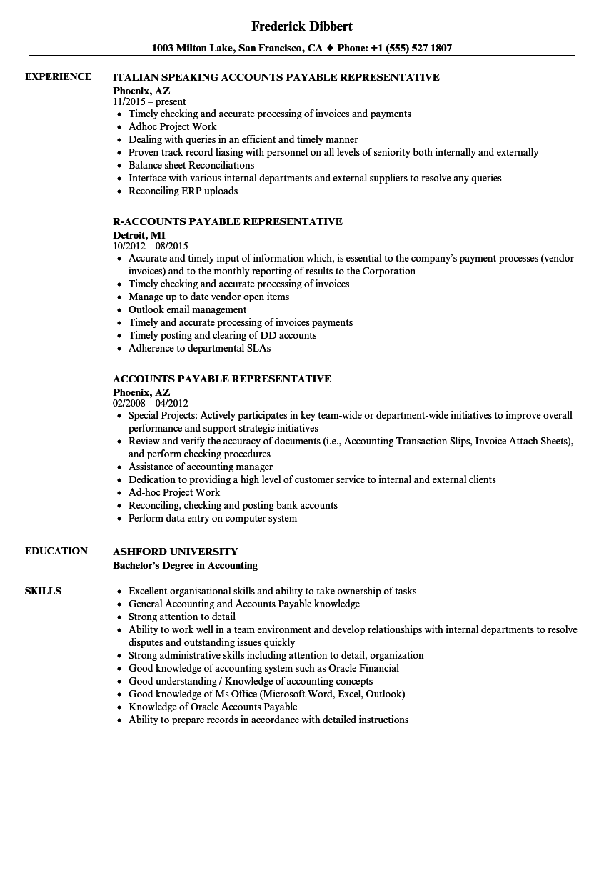healthcare accounts payable rep resume samples