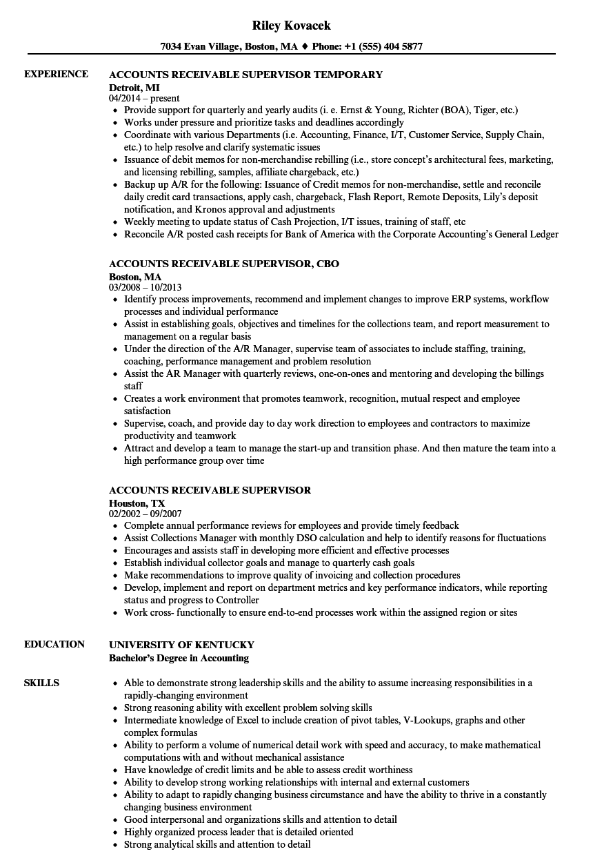 medical accounts receivable resume examples
