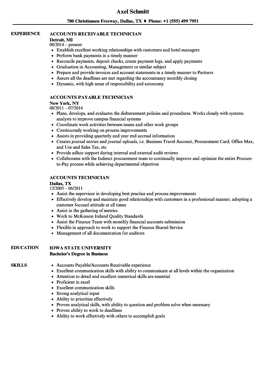 examples of technician resume