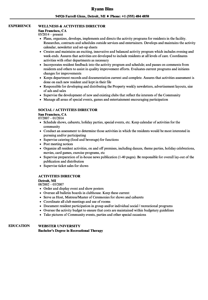 sample resume with activities