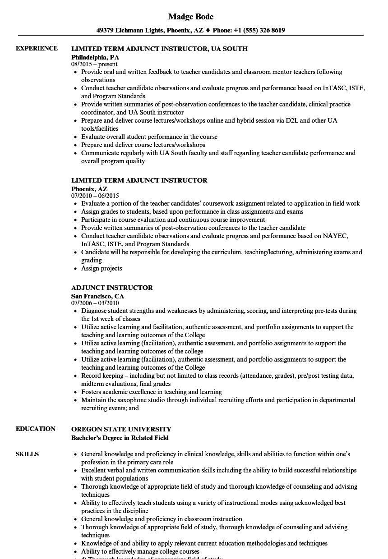 college adjunt resume examples