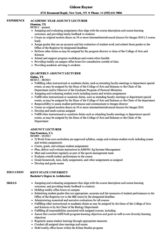 resume samples lecturer