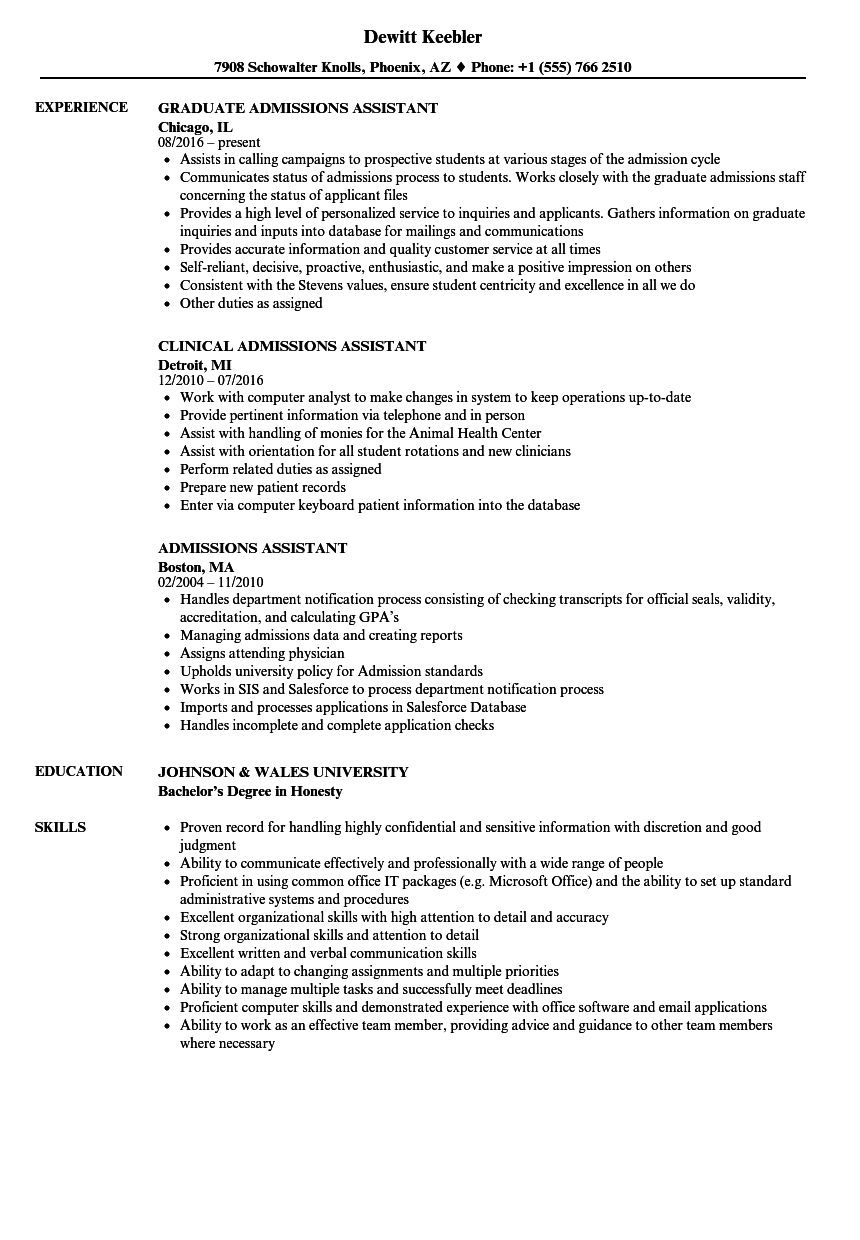 assistant director of admissions resume sample