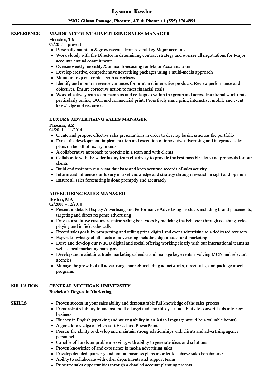advertising sales manager resume sample