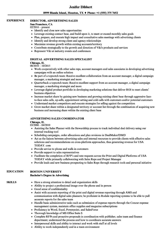 advertising agency resume sample