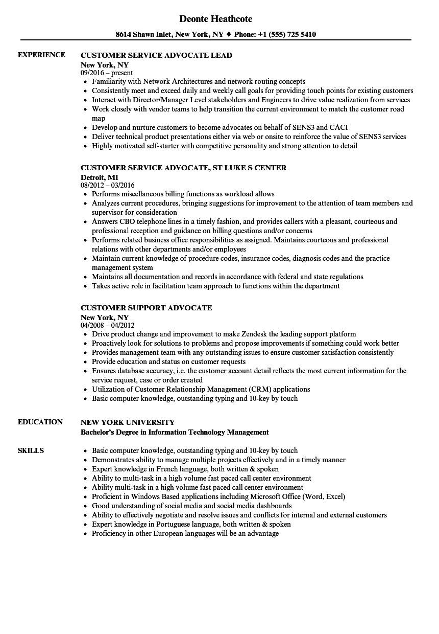 customer service advocate resume examples