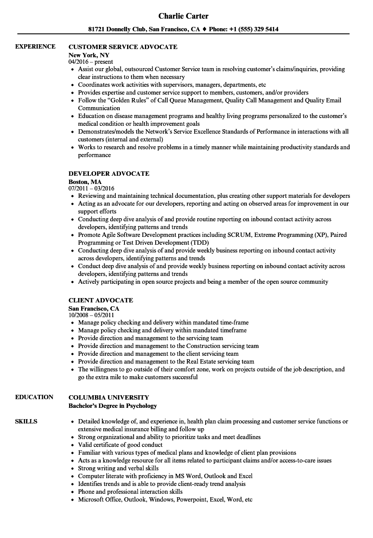 patient advocate resume sample