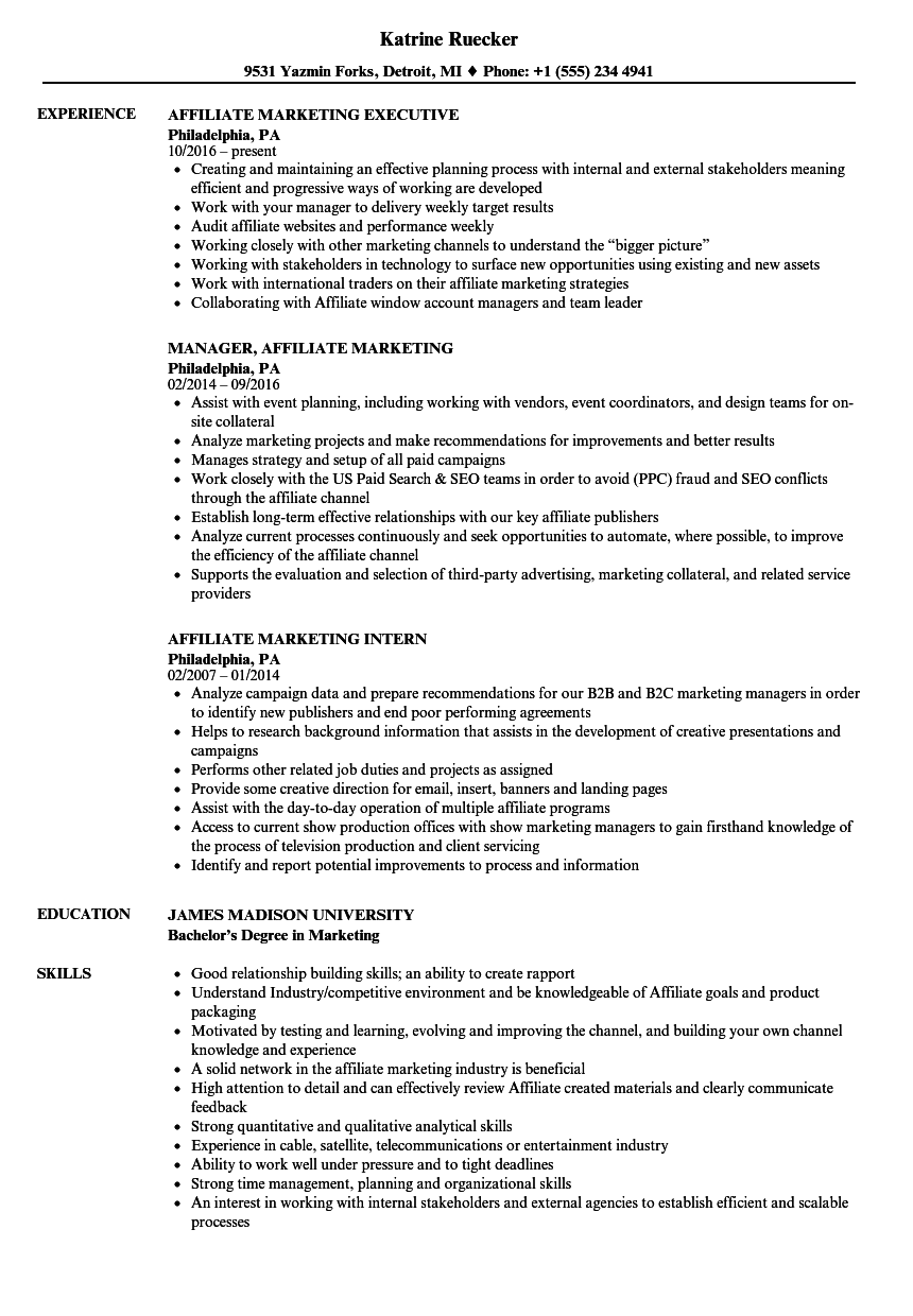 affiliate marketing resume sample