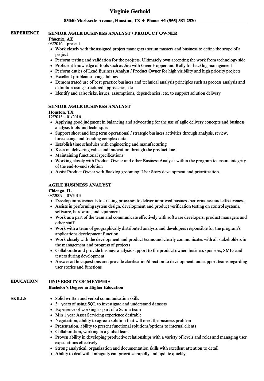 agile business analyst resume sample