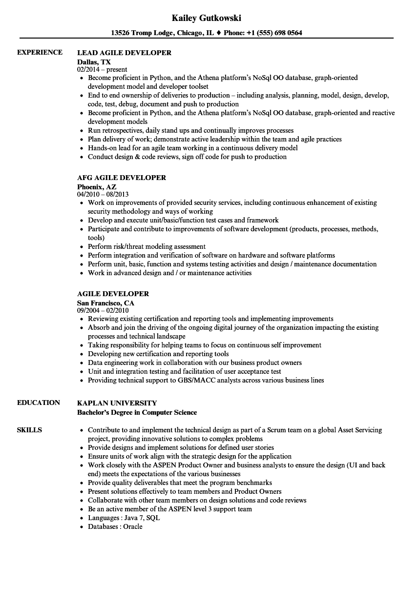 agile developer resume sample