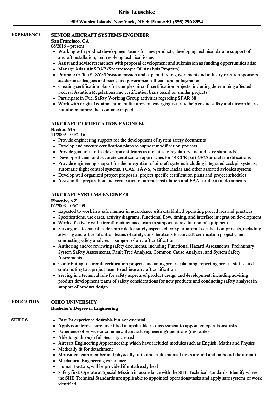 aircraft maintenance engineer resume sample