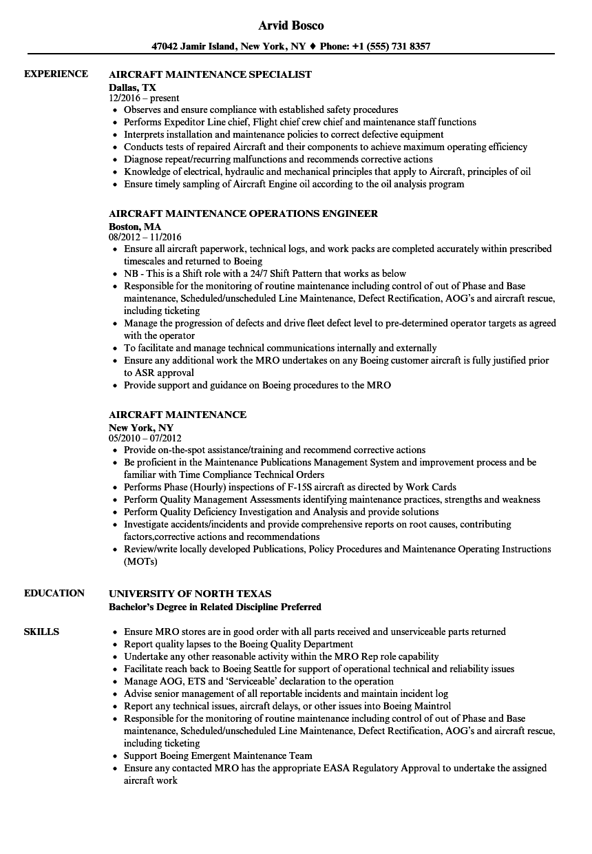 aircraft technician resume sample