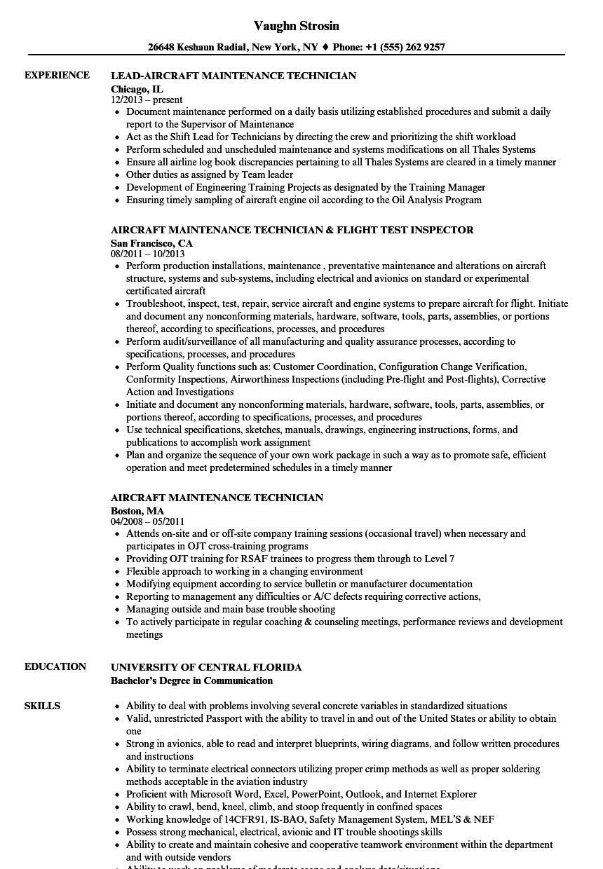 aviation maintenance resume