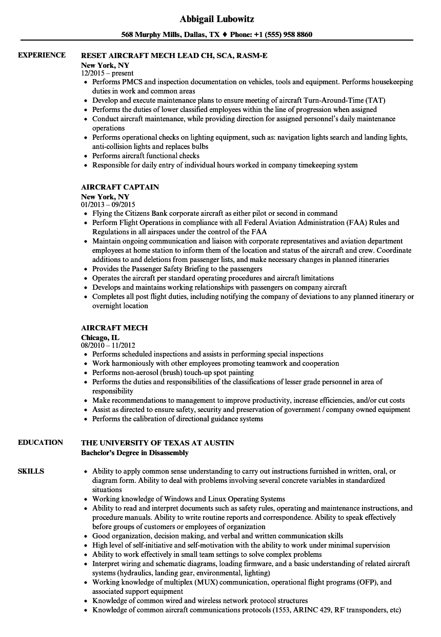 aircraft assembler resume sample