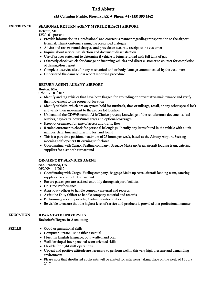 airline check in agent resume sample