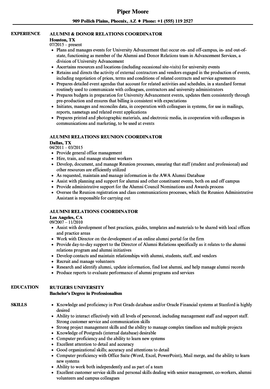 education coordinator sample resume