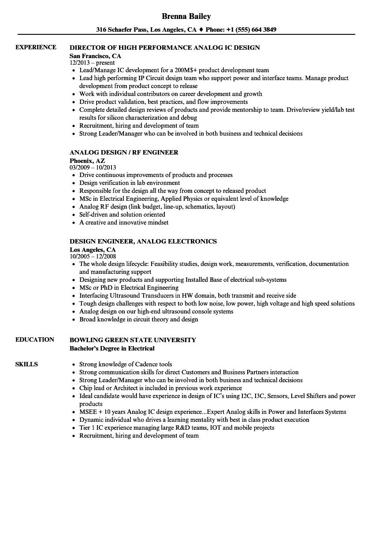 resume analog design engineer