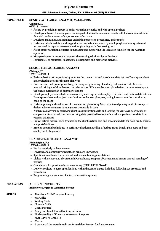 pension analyst resume sample
