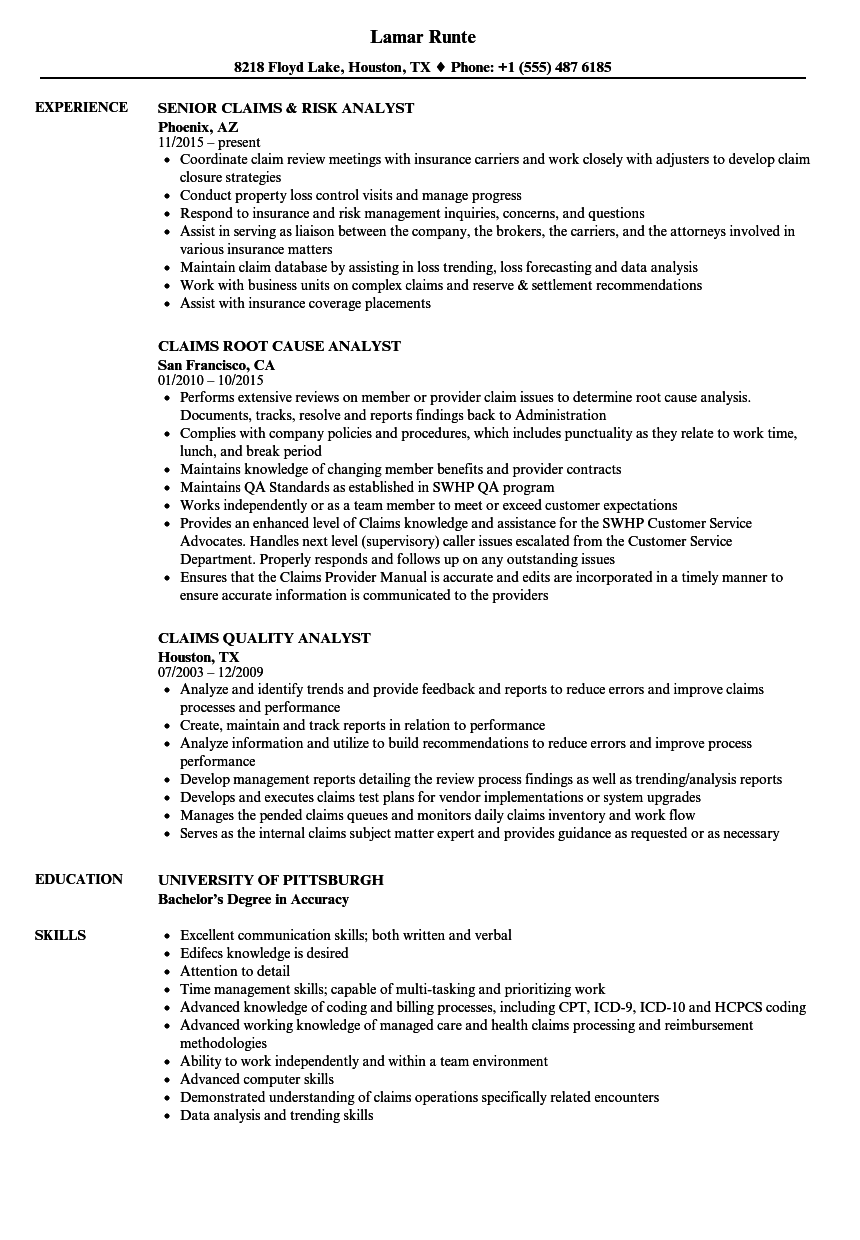 claims analyst resume sample