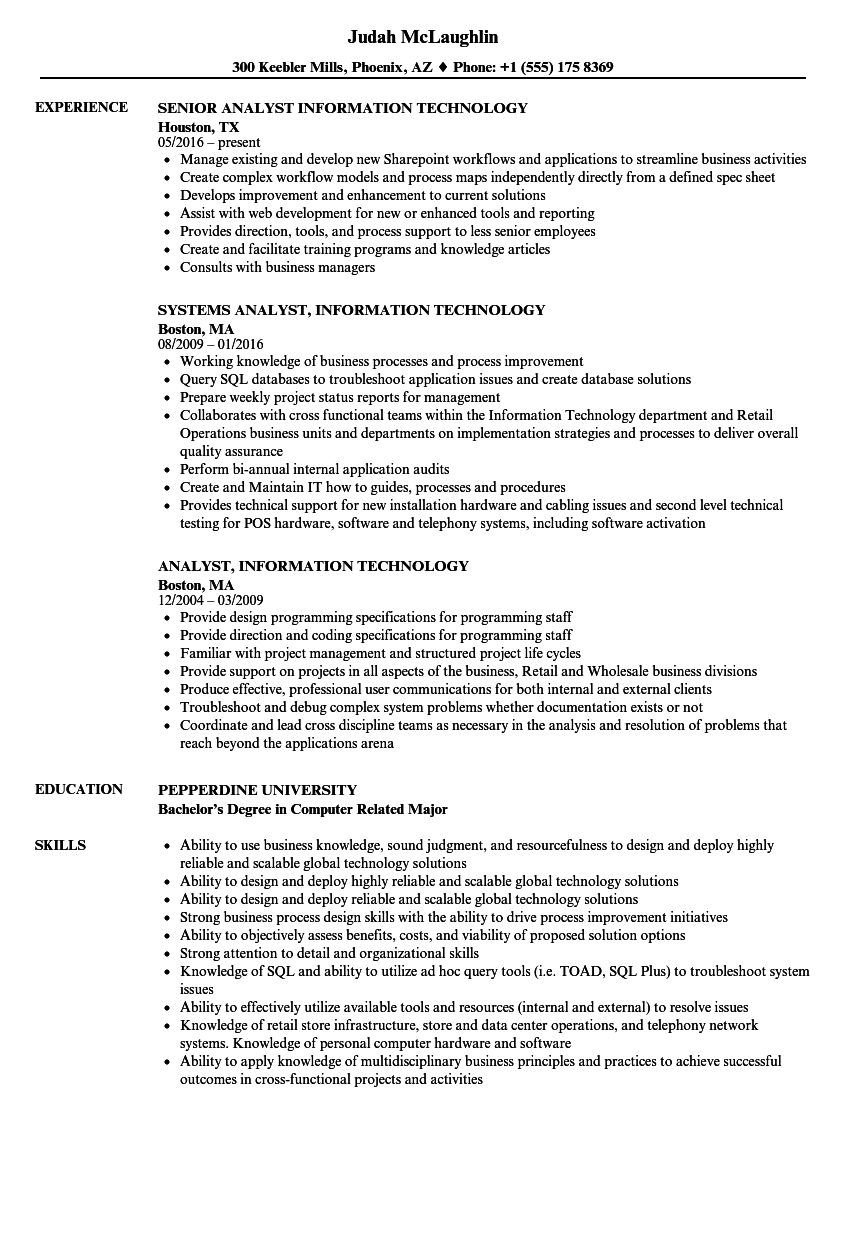 resume title for information technology