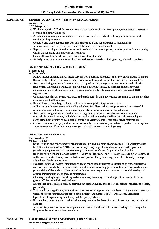 sample resume for data management analyst