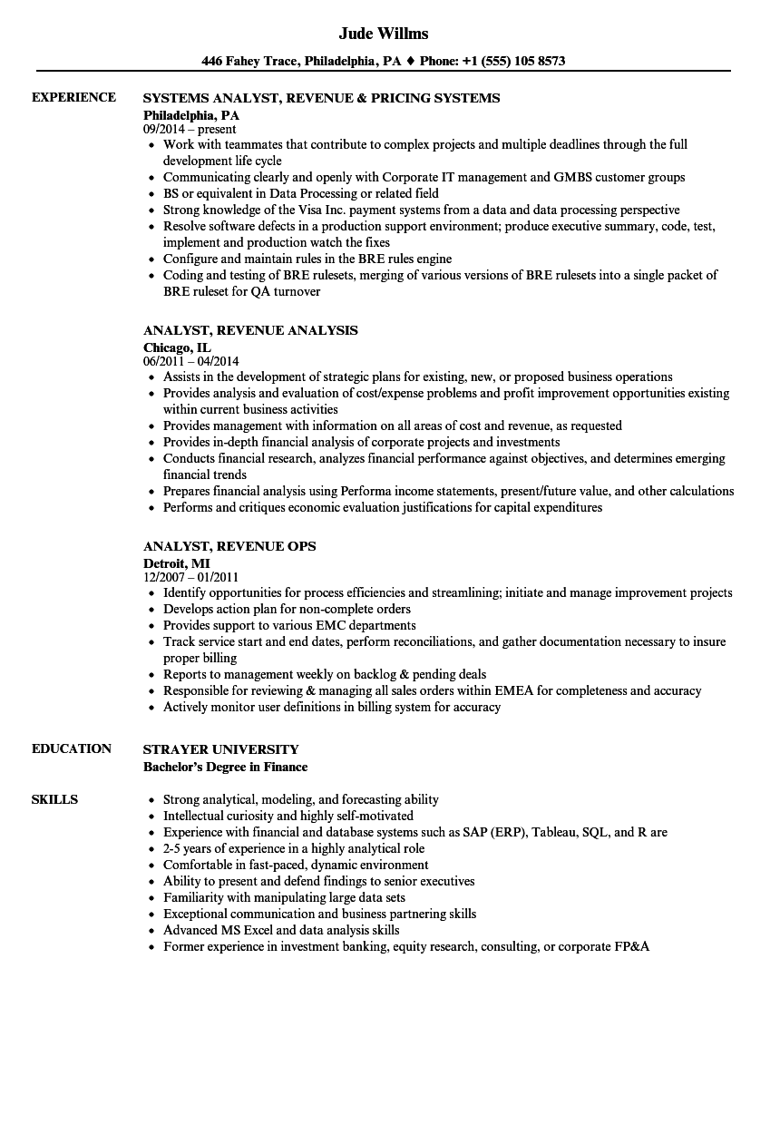 senior systems analyst resume examples