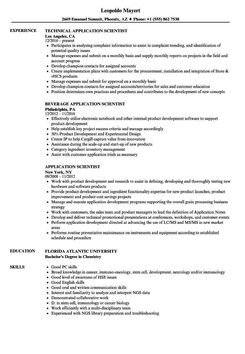 resume sample for science field