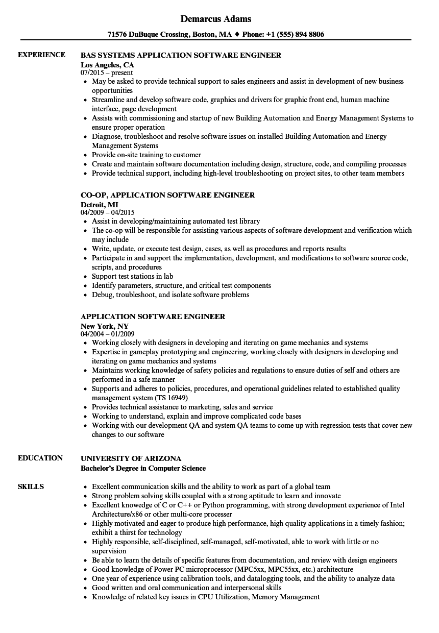 software job resume skills