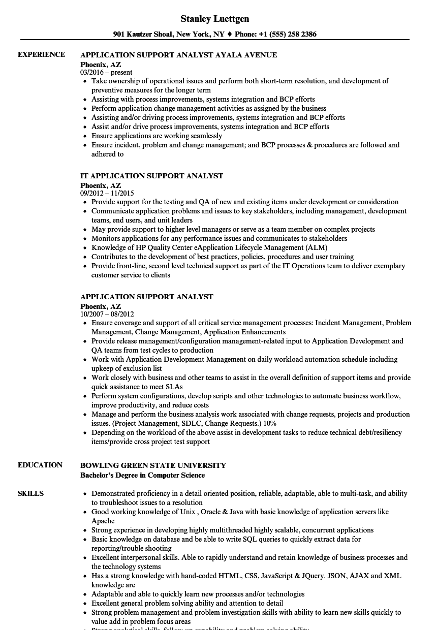 resume application support