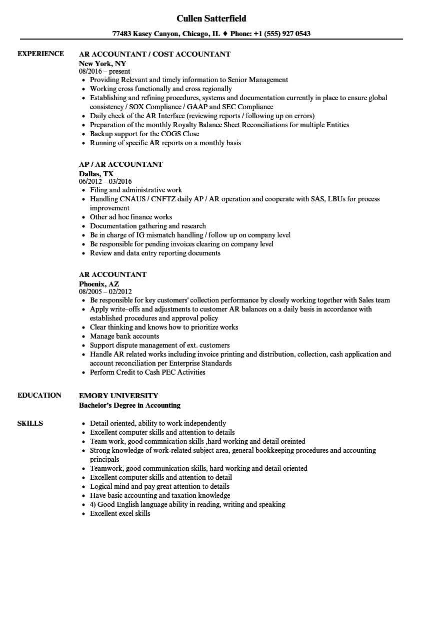 resume sample for experience candidate