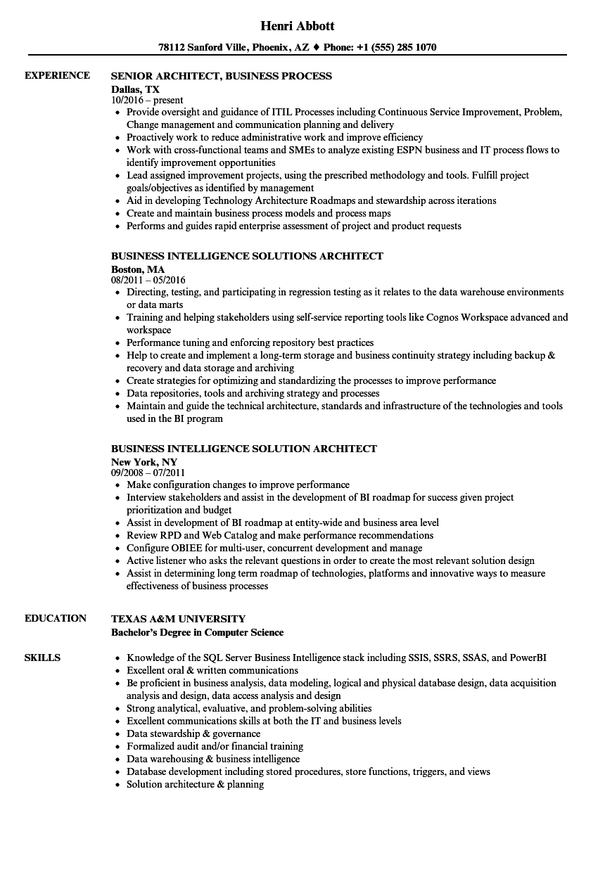 business solutions architect sample resume