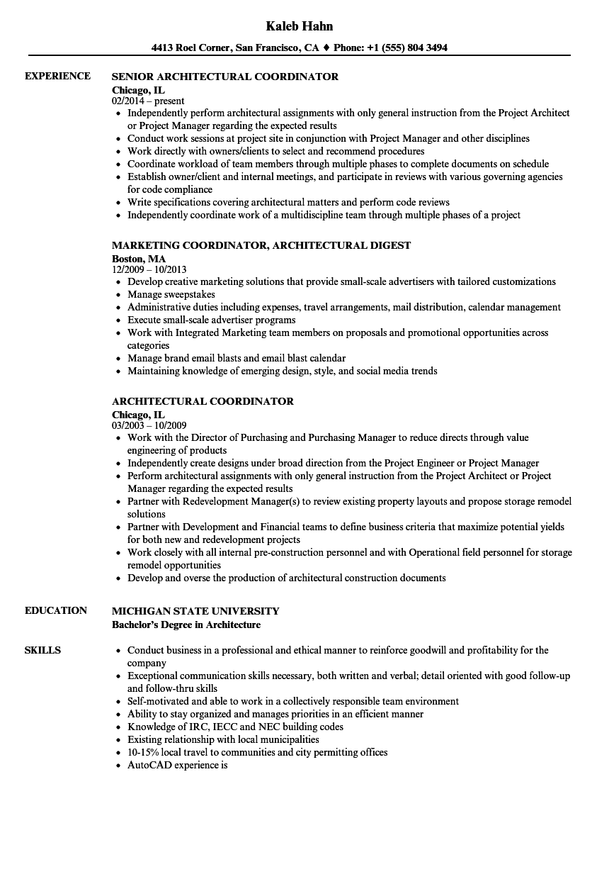 resume samples for architectural coordinator