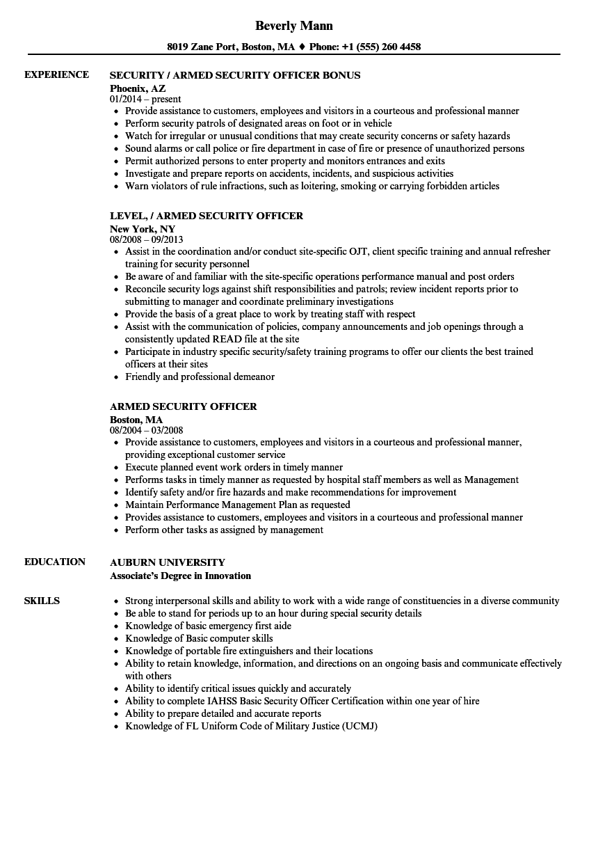 armed security guard resume examples