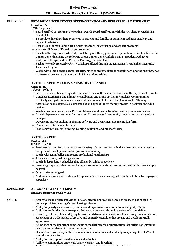 sample art therapist resume