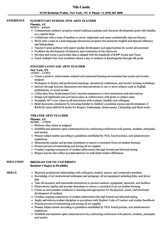 sample english language arts teacher resume