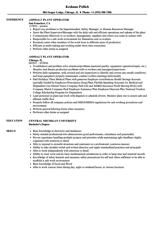 asphalt manager resume samples