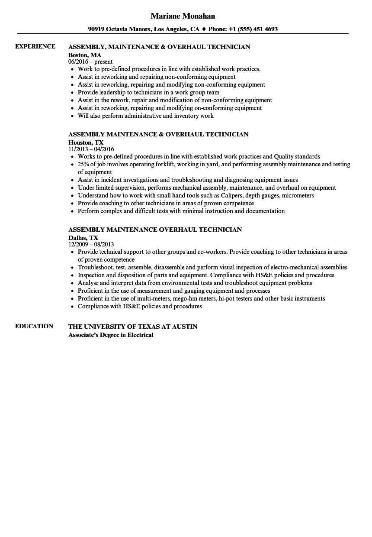sample technician resume
