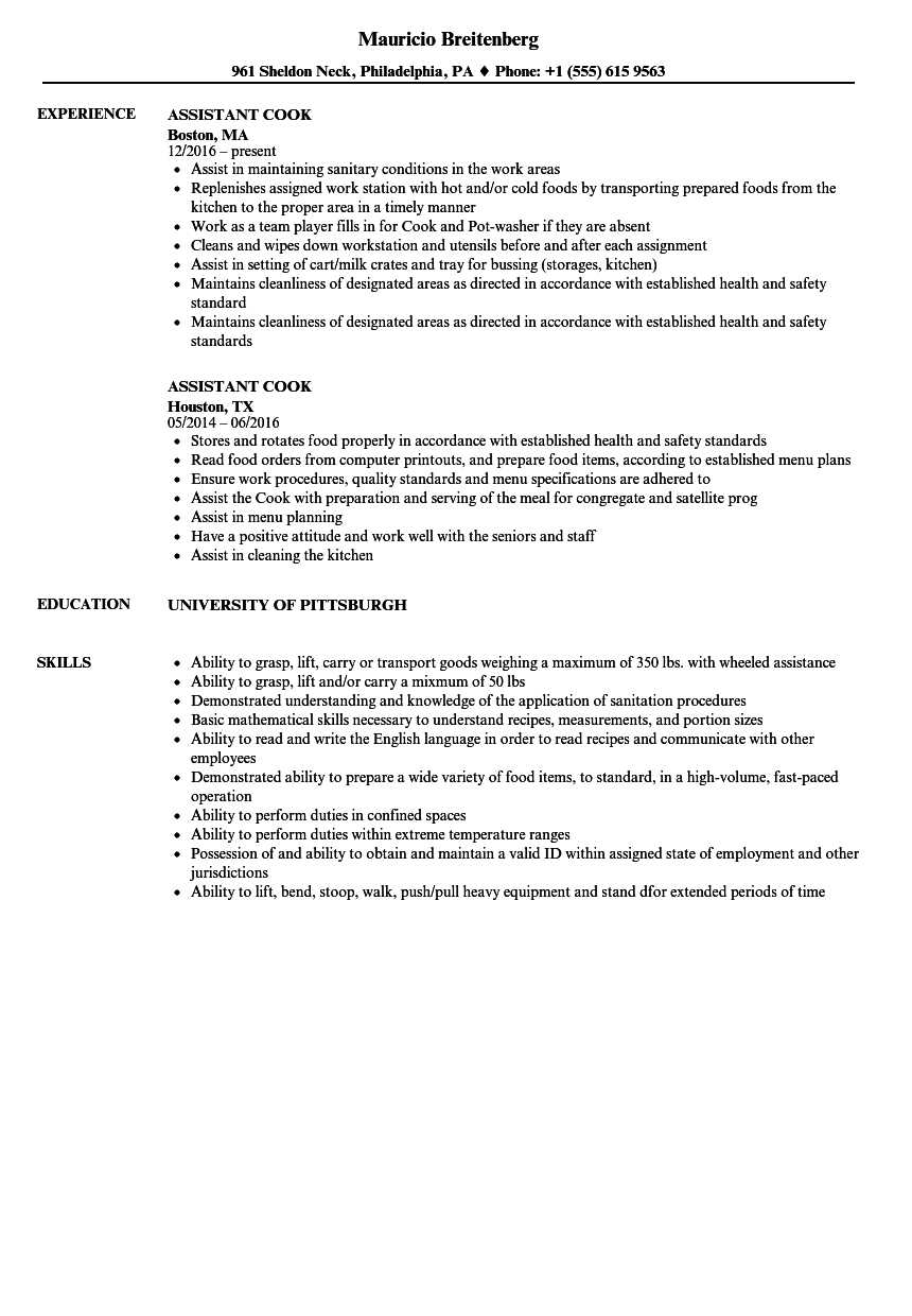 resume line cook