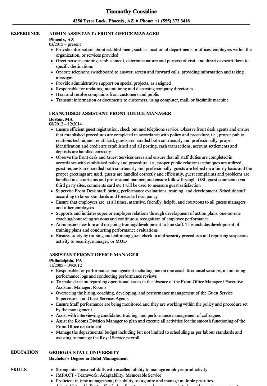 hotel executive assistant manager cv