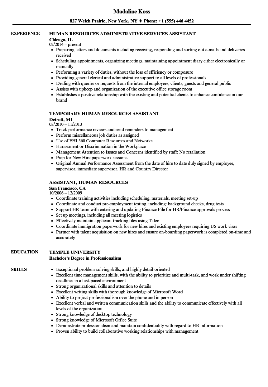 human resources administrative assistant sample resume