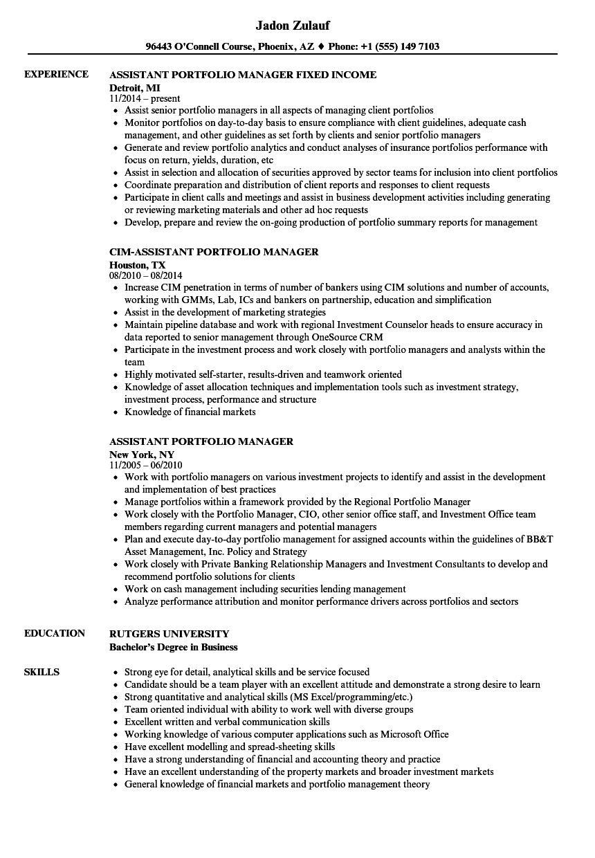 assistant portfolio manager resume